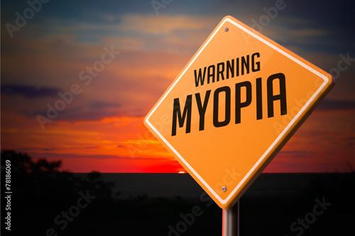 Fotografía  Myopia Warning Road Sign.