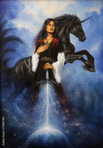 Tablou Canvas Woman with mighty black unicorn