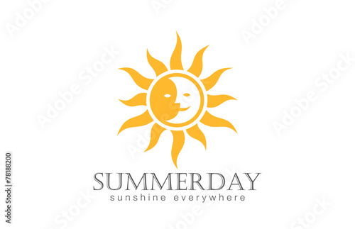 Fototapeta Sun Logo design vector. Day Night Sun Moon Logotype