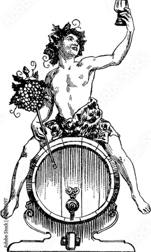 Vintage Illustration Bacchus Dionysus Canvas Print