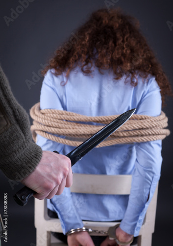 Photo  woman waiting terrible fate of the executioner