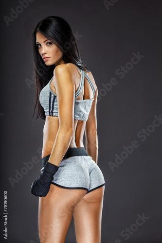 woman boxer portrait Poster