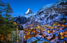Aerial View On Zermatt Valley And Matterhorn Peak At Dawn, Switz