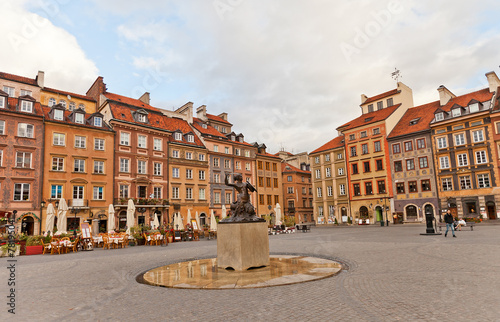 Mermaid statue of Old Town Market Place. Warsaw, Poland - 78195041
