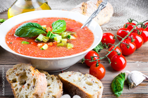 Fotografie, Obraz  Tomato gazpacho soup with pepper and garlic, Spanish cuisine