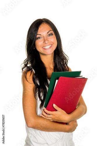 Photo Studentin mit College Mappen