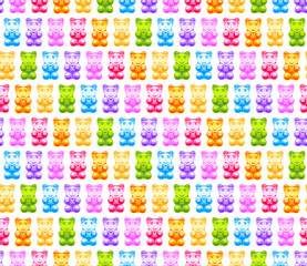 Fototapeta Bright gummy bears seamless pattern