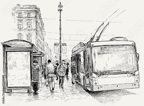 przystanek-trolejbusu-w-duzym-miescie