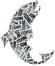 Gone Fishing. Word Cloud Illustration.