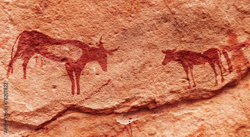 Poster Algérie Rock paintings in Sahara Desert, Algeria