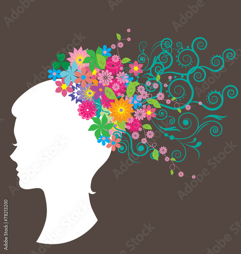 Fototapety, obrazy: Beautiful woman with hair made of flowers