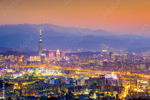 Taipei, Taiwan Cityscape from Neihu District Canvas Print