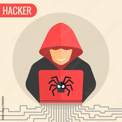 Fotografía  Computer hacker spread a net
