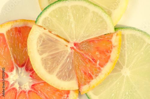 Fototapety, obrazy: lime, lemon and orange slice filtered effect