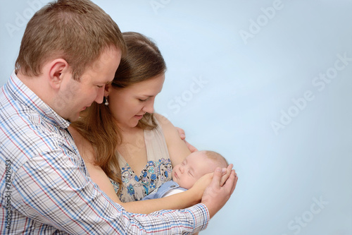 Photo  portrait of happy young family