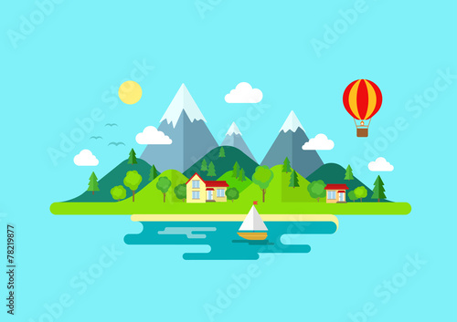 Fotobehang Turkoois Travel mountains island landscape and sailing color flat concept