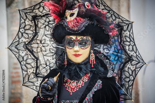 Venice, Italy - February 13, 2015: A wonderful mask participant