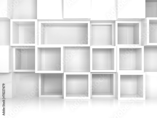 Abstract empty 3d interior with white square shelves © evannovostro