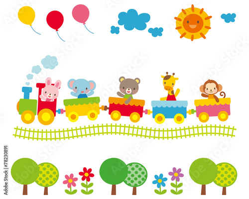 子供向け素材 汽車に乗る動物たち #78230891