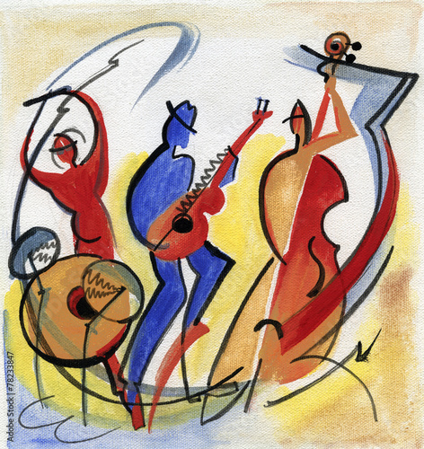Jazz trio playing music Poster
