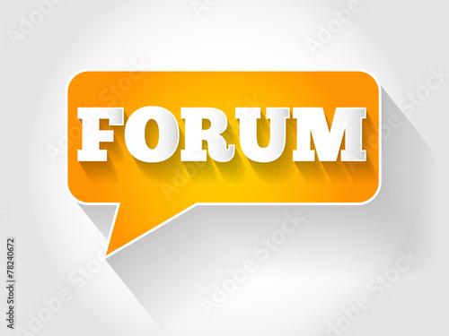 Photo  FORUM text message bubble, business concept