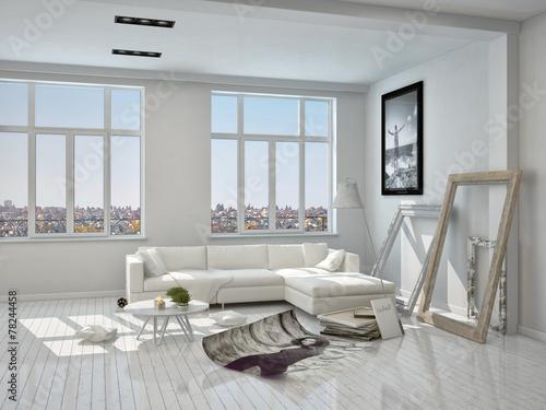 Weisses Wohnzimmer Mit Couch Und Dekoration Buy This Stock