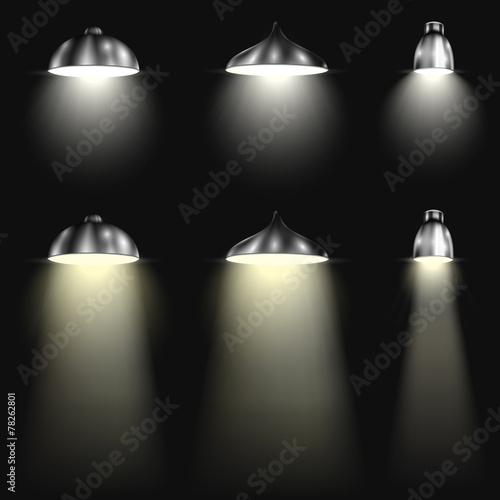 Foto op Canvas Licht, schaduw Three Types of Spotlights With Beams