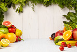 Fototapeta Fototapety do kuchni - Fruit and vegetable borders on wood table