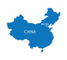 Blue Map Of China