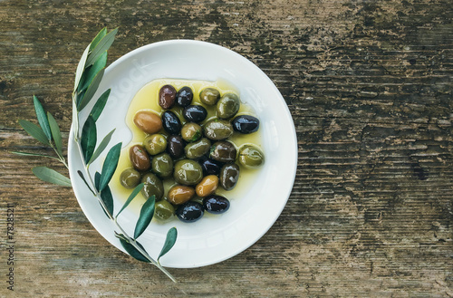 A plate of Mediterranean olives in olive oil with a branch of ol Canvas Print