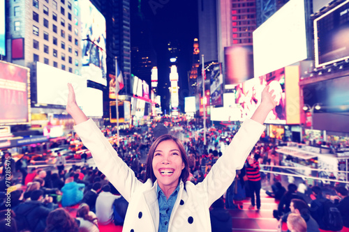 Photo  Happy fun woman in New York, Times Square
