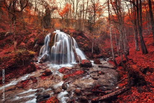 Spoed Foto op Canvas Bordeaux Silver Stream Waterfall (Autumn forest in Crimea)