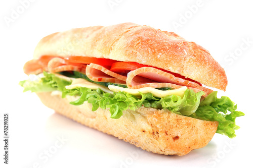 Spoed Foto op Canvas Snack Fresh sandwich isolated on white