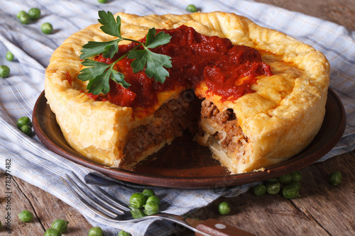 cut meat pie on a plate close-up. Horizontal & cut meat pie on a plate close-up. Horizontal - Buy this stock photo ...