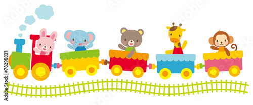 Fotografie, Obraz  子供向け素材 汽車にのる動物たち