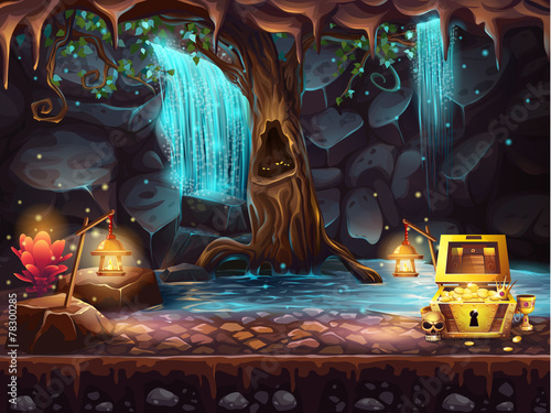 Fantasy cave with a waterfall, tree, treasure chest