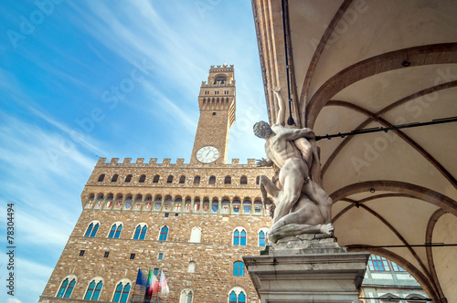 Rape of the Sabines sculpture by Giambologna in Florence, Italy Wallpaper Mural