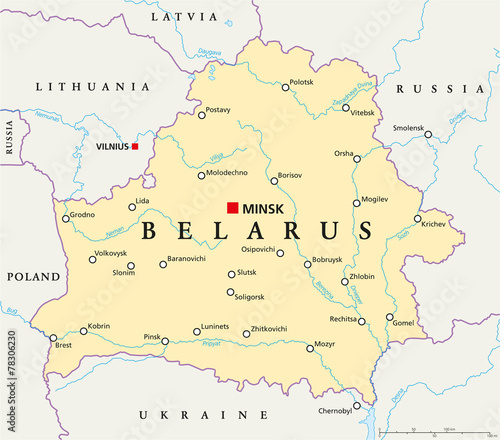 Belarus Political Map Canvas Print