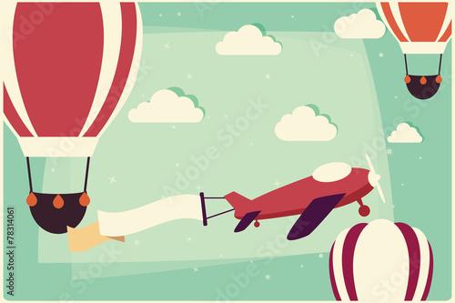 tlo-z-balonow-na-ogrzane-powietrze-i-samolot-z-wstazka