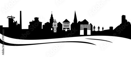 Fotografie, Obraz  Silhouette von der Stadt Hattingen
