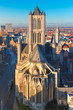 canvas print picture - Aerial view of Ghent from Belfry, Belgium.