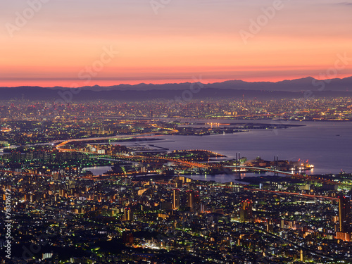 Staande foto Afrika Osaka and Kobe in the twilight, View from the Kukuseidai of Mt.M