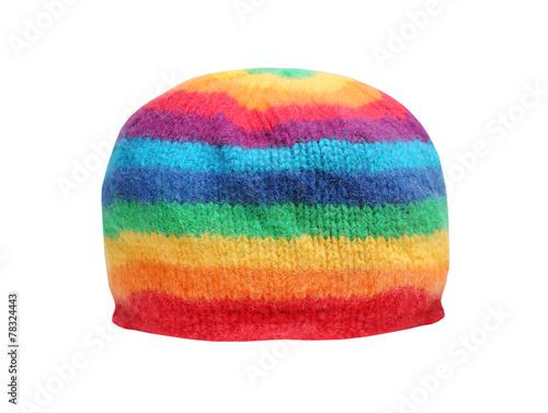 Obraz na plátně Rainbow rasta cap isolated on a white background.