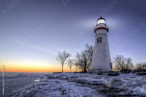 Door stickers Lighthouse Marblehead Lighthouse Sunrise