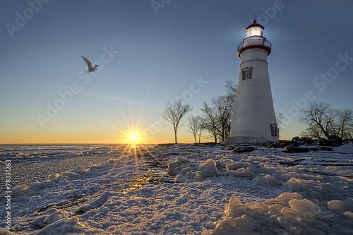 Foto op Aluminium Vuurtoren Marblehead Lighthouse Sunrise