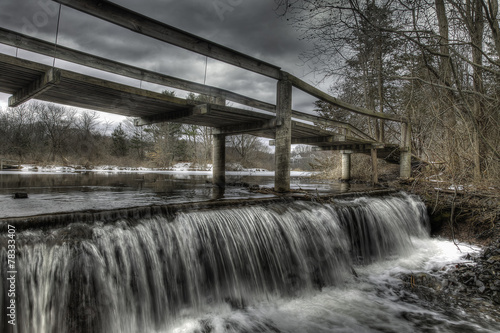 Photo  Wooden Walking Bridge Over Winter Waterfall