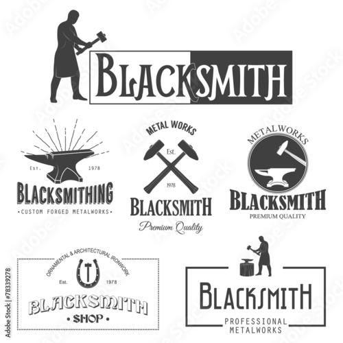 Leinwand Poster Set of vintage blacksmith labels and design elements