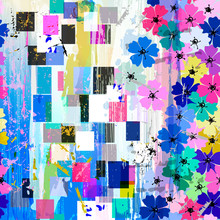 Seamless Abstract Flowers Pattern, Vector Illustration