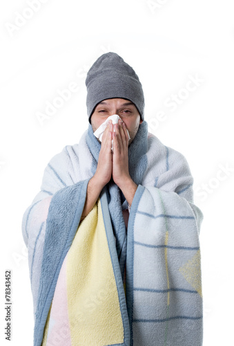 Fotografia  sick man with snotty nose having temperature igrippe and flu