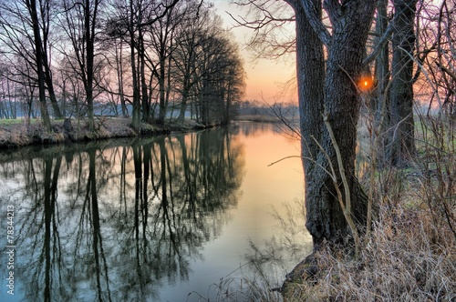 Photo sur Toile Bestsellers Spree im Winter Sonnenuntergang - river Spree in winter 01